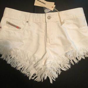 NWT Diesel white fringe shorts